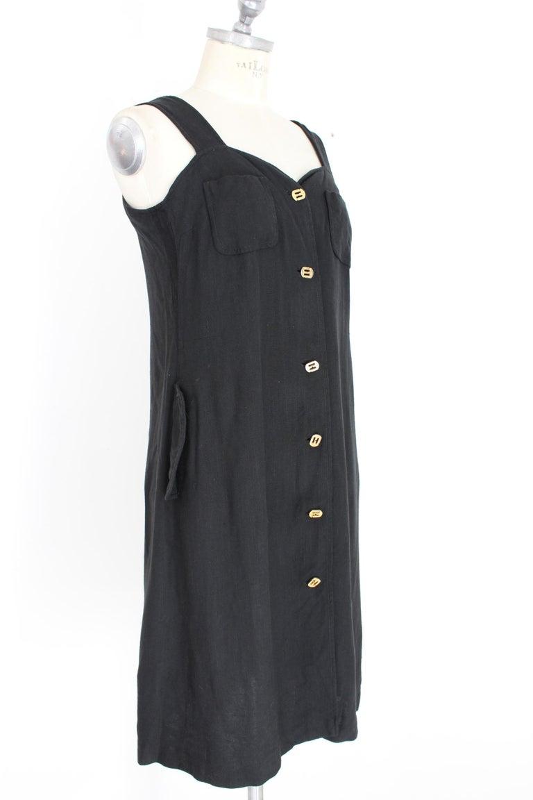 Salvatore Ferragamo Black Viscose Long Cocktail Suit Dress 1990s For Sale 1