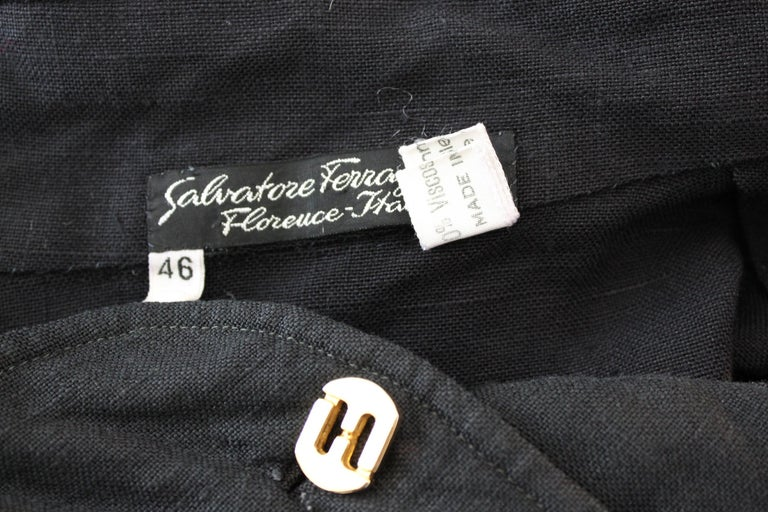 Salvatore Ferragamo Black Viscose Long Cocktail Suit Dress 1990s For Sale 2
