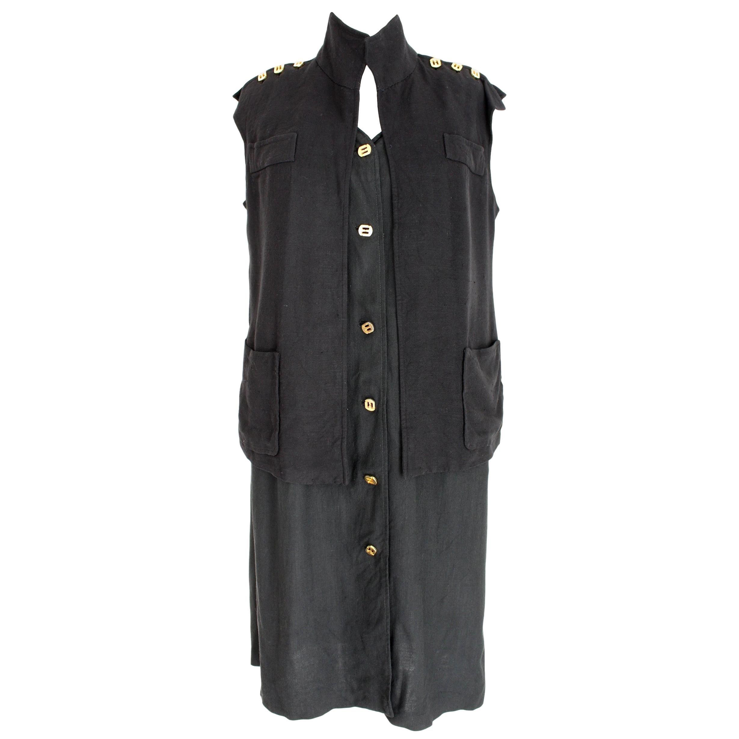 Salvatore Ferragamo Black Viscose Long Cocktail Suit Dress 1990s
