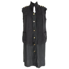 Salvatore Ferragamo Black Viscose Long Cocktail Suit Dress 1990s
