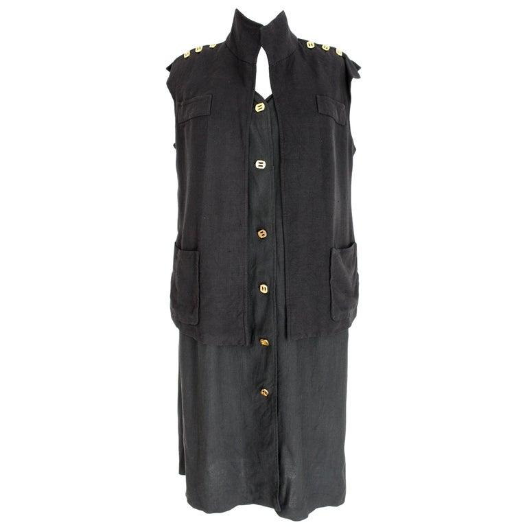 Salvatore Ferragamo Black Viscose Long Cocktail Suit Dress 1990s For Sale
