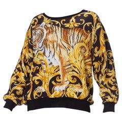 1990's Salvatore Ferragamo Oversized Baroque Tiger Silk Top