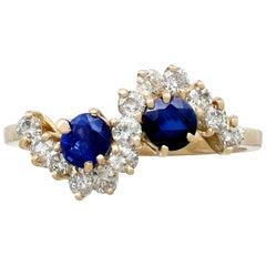 1990s Sapphire and Diamond Gold Twist Ring