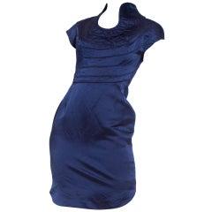 1990S Sapphire Blue Silk Duchess Satin Cocktail Dress