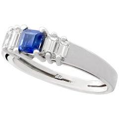 1990s Sapphire Diamond White Gold Cocktail Ring