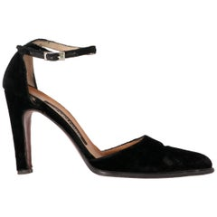 1990s Sergio Rossi Black Velvet Pumps