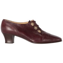 1990s Sergio Rossi Burgundy Leather Shoes