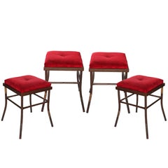 1990s Set of Four Iron Velvet Stools