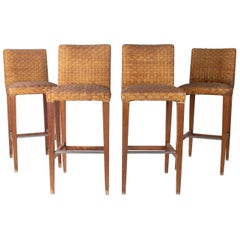 1990s Set of Four Wood and Leather Stools with Steel Foot Rests