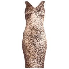 1990's Sex And The City Dolce & Gabbana Stretch Satin Leopard Print Dress