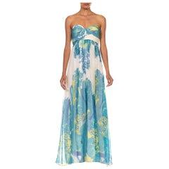 1990S Silk & Lurex Chiffon Blue Paisley Strapless Summer Gown