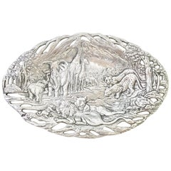 "1990s Silver ""Endangered Kingdom"" Oval Tray by Arthur Court"