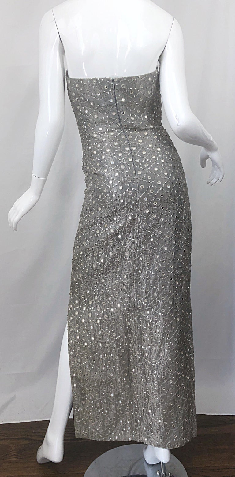 1990s Silver Grey Mirrored Sequins Size 6 Strapless Silk Vintage Gown Dress For Sale 6