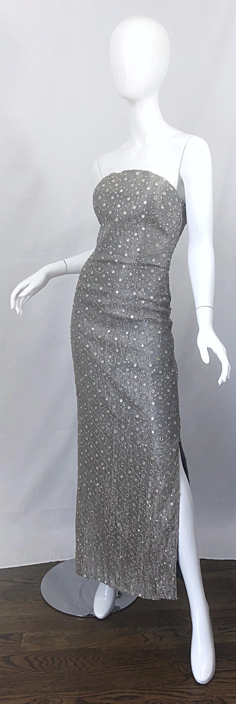 1990s Silver Grey Mirrored Sequins Size 6 Strapless Silk Vintage Gown Dress For Sale 7
