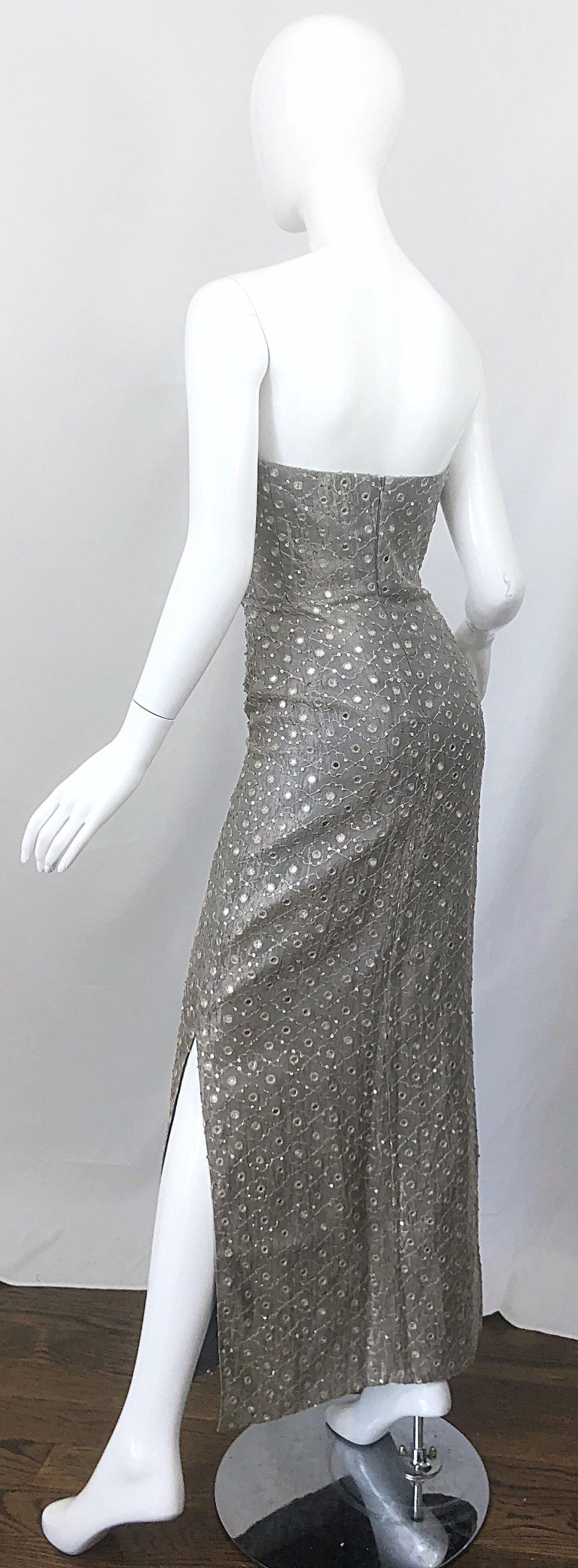 1990s Silver Grey Mirrored Sequins Size 6 Strapless Silk Vintage Gown Dress For Sale 8