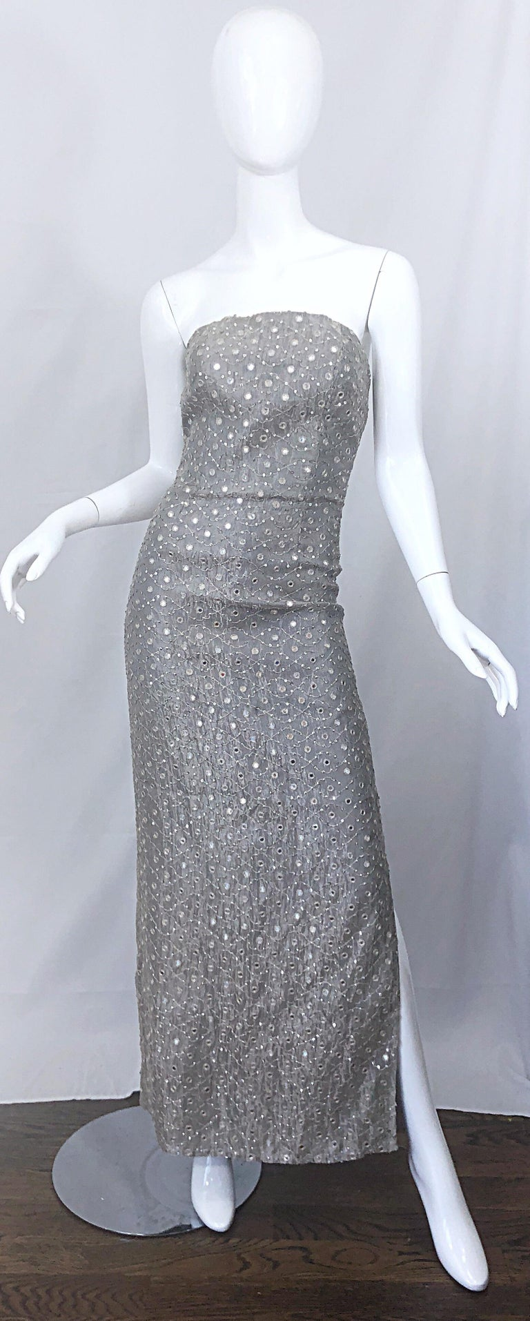 1990s Silver Grey Mirrored Sequins Size 6 Strapless Silk Vintage Gown Dress For Sale 9