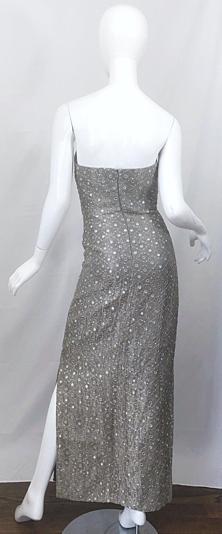 Women's 1990s Silver Grey Mirrored Sequins Size 6 Strapless Silk Vintage Gown Dress For Sale