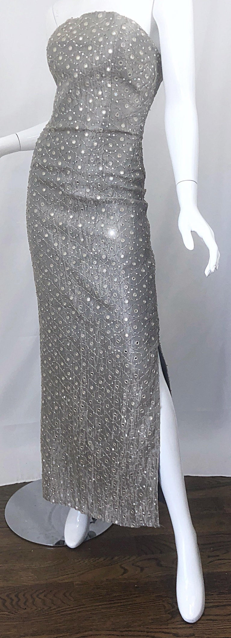 1990s Silver Grey Mirrored Sequins Size 6 Strapless Silk Vintage Gown Dress For Sale 1