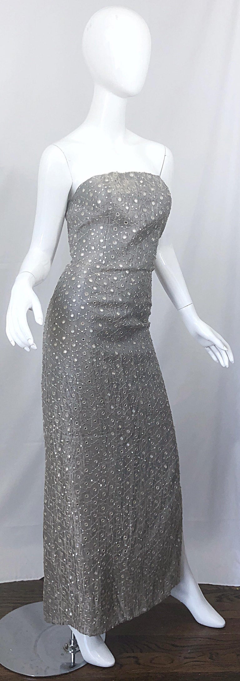 1990s Silver Grey Mirrored Sequins Size 6 Strapless Silk Vintage Gown Dress For Sale 2