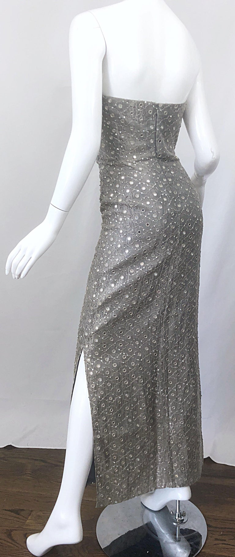 1990s Silver Grey Mirrored Sequins Size 6 Strapless Silk Vintage Gown Dress For Sale 3