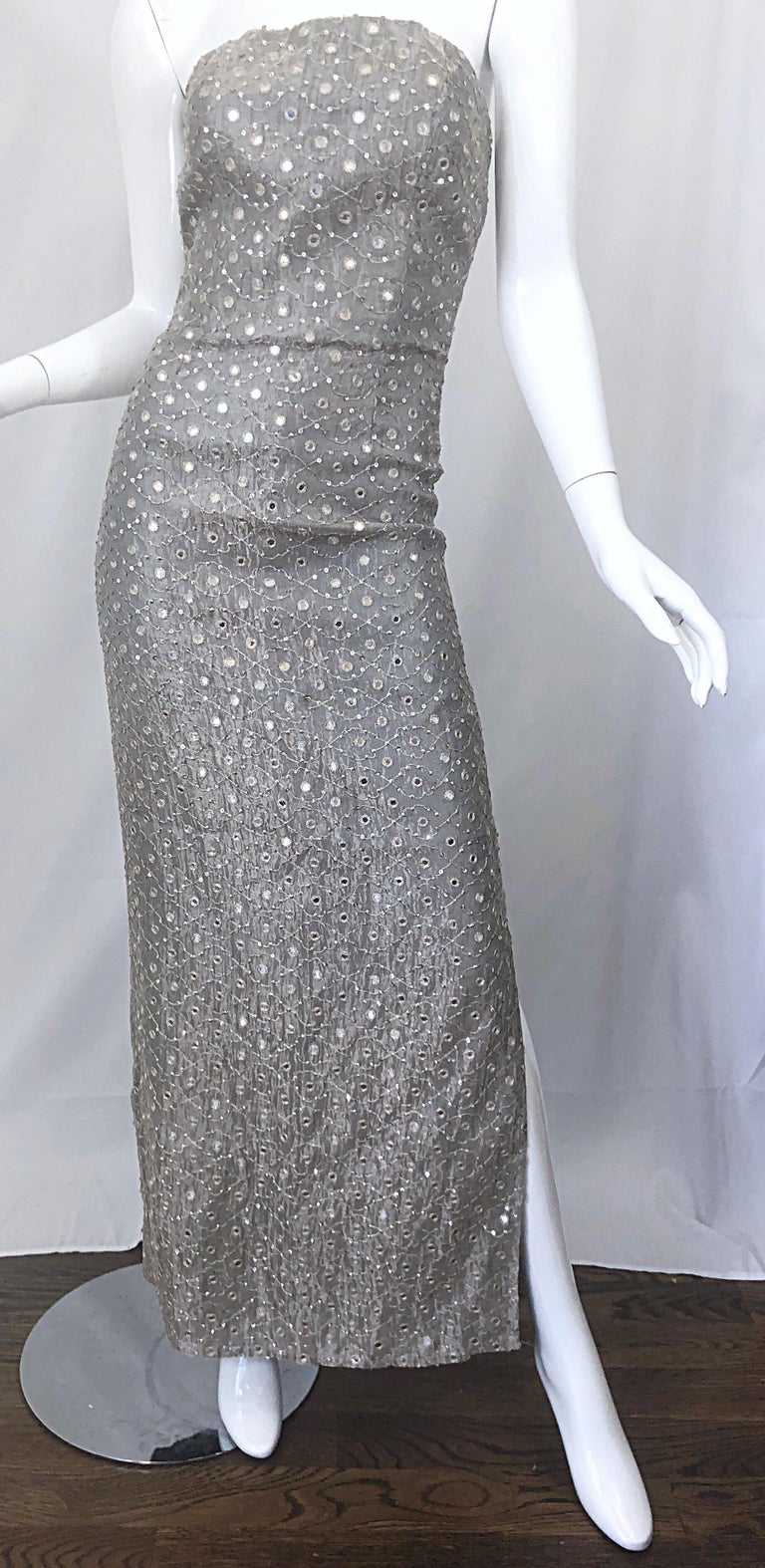 1990s Silver Grey Mirrored Sequins Size 6 Strapless Silk Vintage Gown Dress For Sale 4