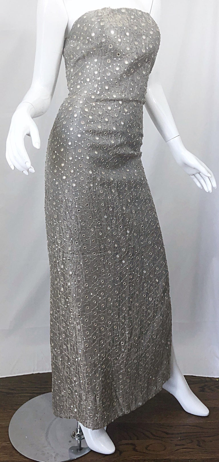 1990s Silver Grey Mirrored Sequins Size 6 Strapless Silk Vintage Gown Dress For Sale 5