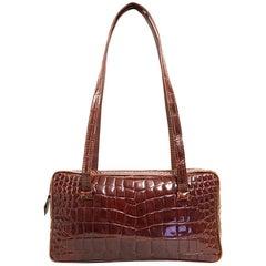 1990s Sirni Brown Crocodile Leather Shoulder Bag