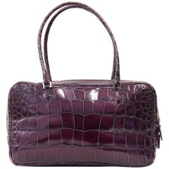 1990s Sirni Purple Crocodile Leather Purse