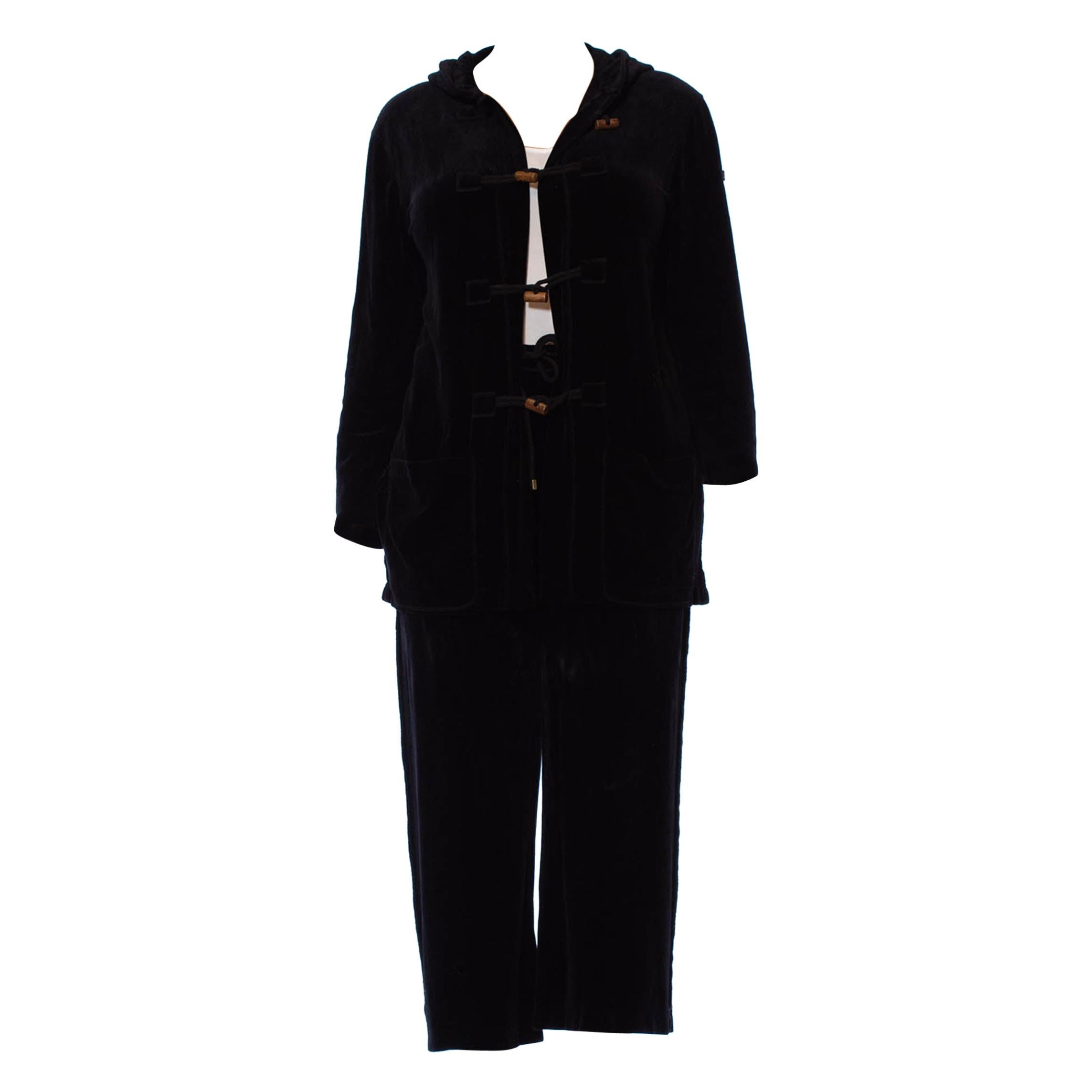 1990S SONIA RYKIEL Black Cotton / Rayon Stretch Velvet Hoodie Pant Suit With Lo
