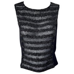 1990s Sonia Rykiel Size 40 / US 12 Black Beaded Semi Sheer Vintage 90s Blouse