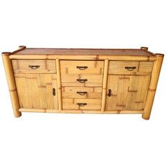 1990s Spanish Bamboo and Rattan Sideboard