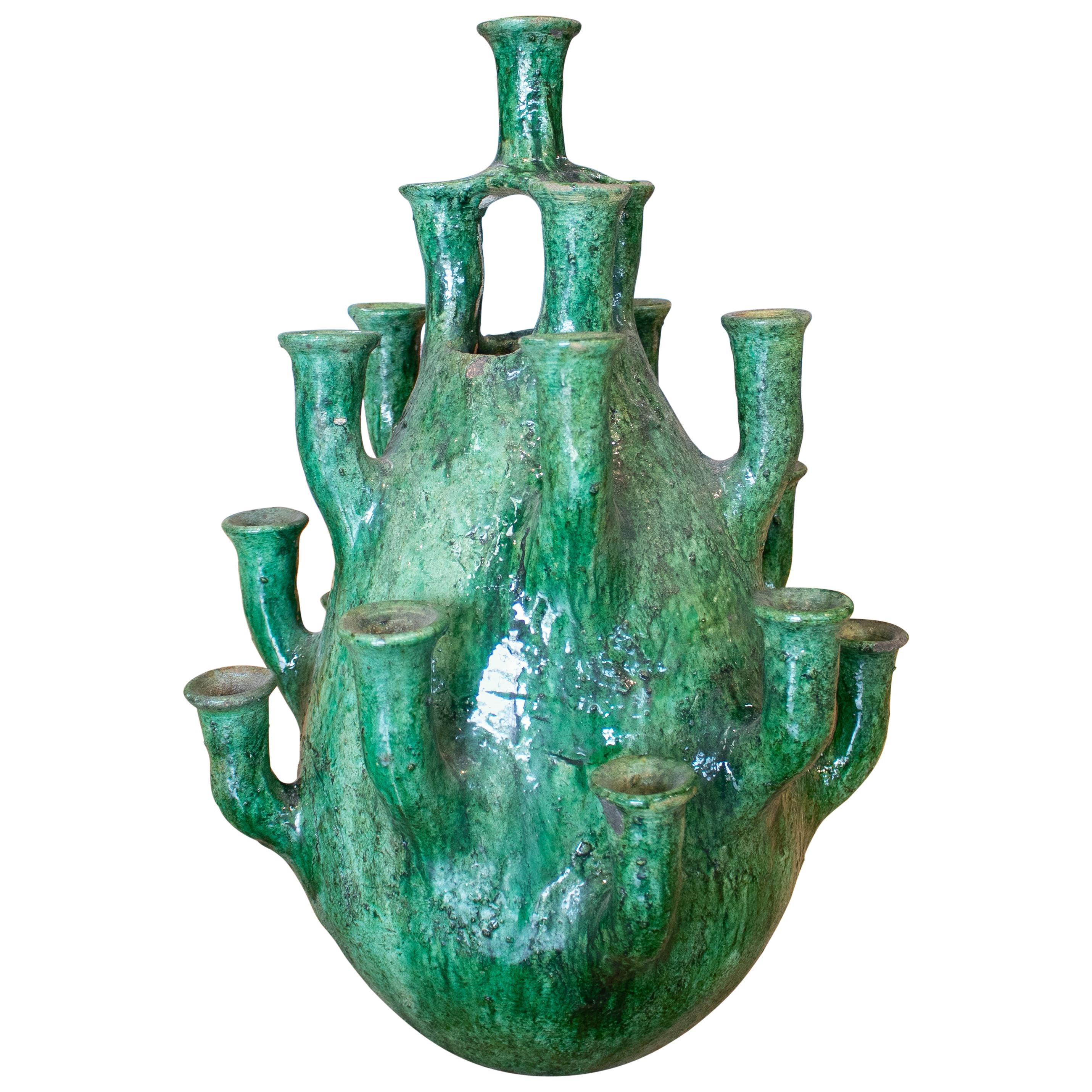 1990s Spanish Green Glazed Table Candle Holder