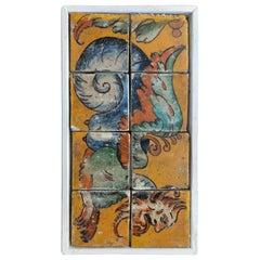 1990s Spanish Hand Painted Mythological Eight Ceramic Tile Framed Panel