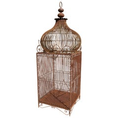 1990s Spanish Large Wrought Iron Bird Cage with Dome