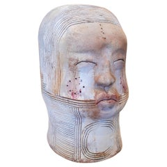 1990s Spanish Modern Abstract Painted Terracotta Ceramic Japanese Man Bust Head