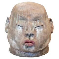 1990s Spanish Modern Painted Terracotta Ceramic Japanese Man Bust Head