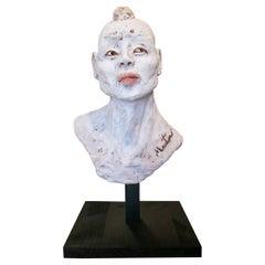 1990s Spanish Painted Terracotta Ceramic Japanese Man Bust Head