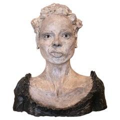 1990s Spanish Painted Terracotta Ceramic Venetian Woman Bust Head