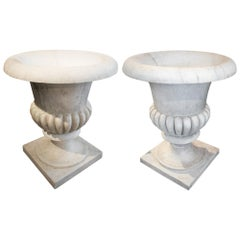 1990s Spanish Pair of Classical Marble Planters with Elegant Fluted Decoration