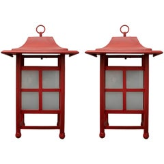 1990s Spanish Pair of Red Iron Outdoor Wall Lamps