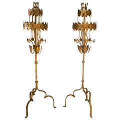 1990s Spanish Pair of Wrought Iron Two-Tier Tall Candle Stand