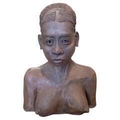 1990s Spanish Terracotta Ceramic African Woman Bust