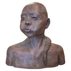 1990s Spanish Terracotta Ceramic Japanese Man Bust Head