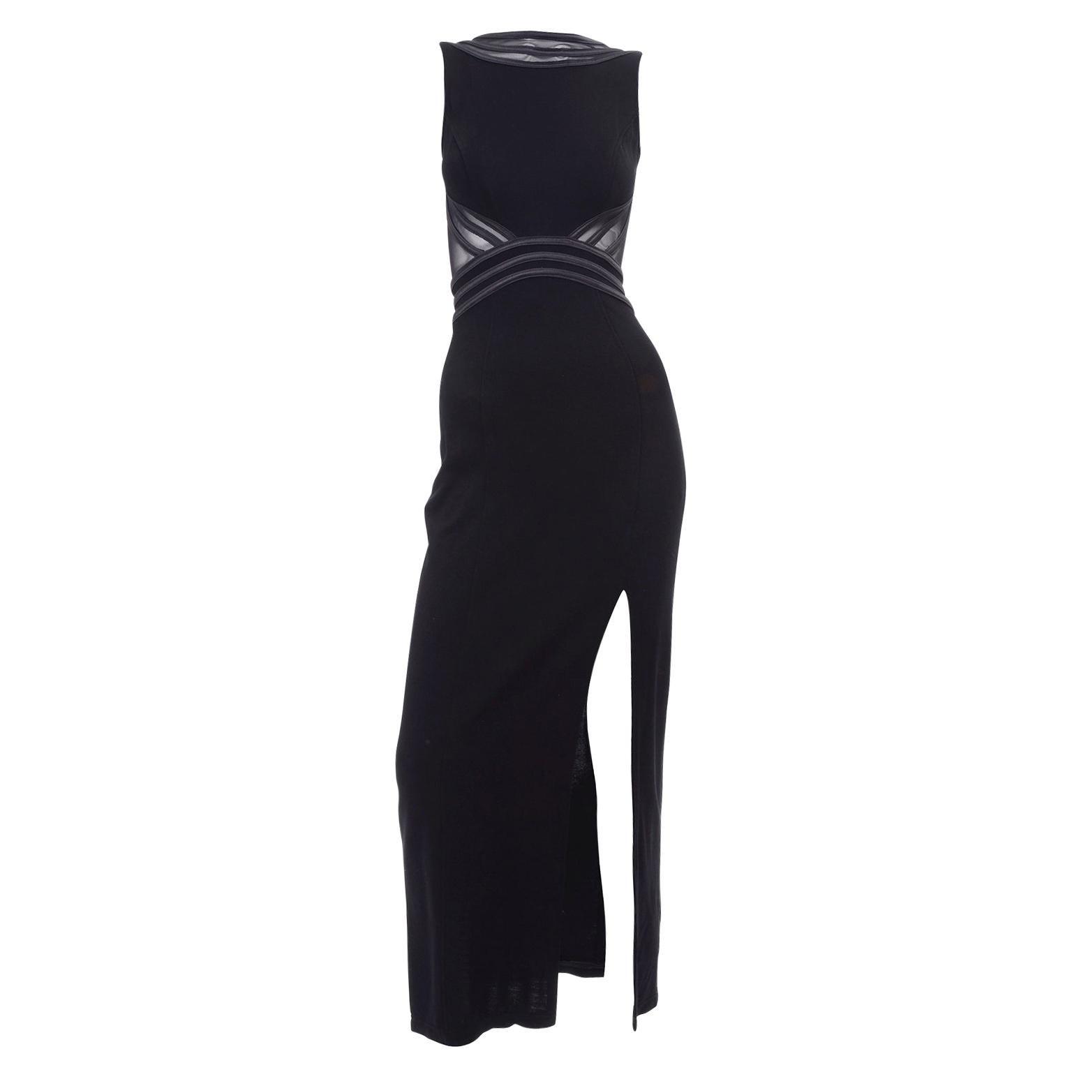 1990s Tadashi Vintage Black Evening Dress With Mesh Inserts & High Slit