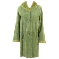 1990s Tailoring Green Sheepskin Coat Hemmed with Mink Fur