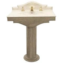 1990s Tan Stone Pedestal Seashell Sink with Backsplash and Round Base