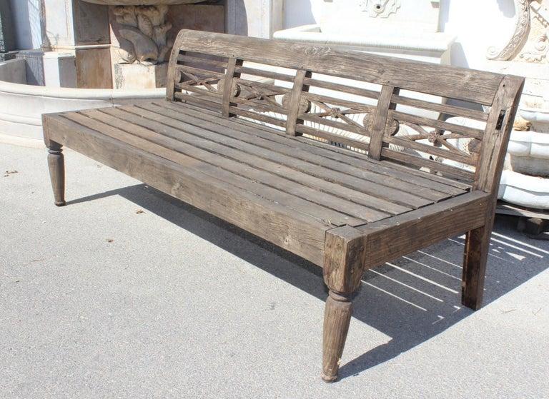1990s Teak Garden Bench In Good Condition For Sale In Malaga, ES