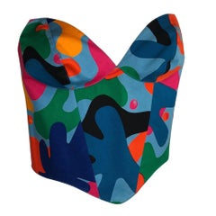 1990's Thierry Mugler Abstract Bustier Colorfull Extra Small