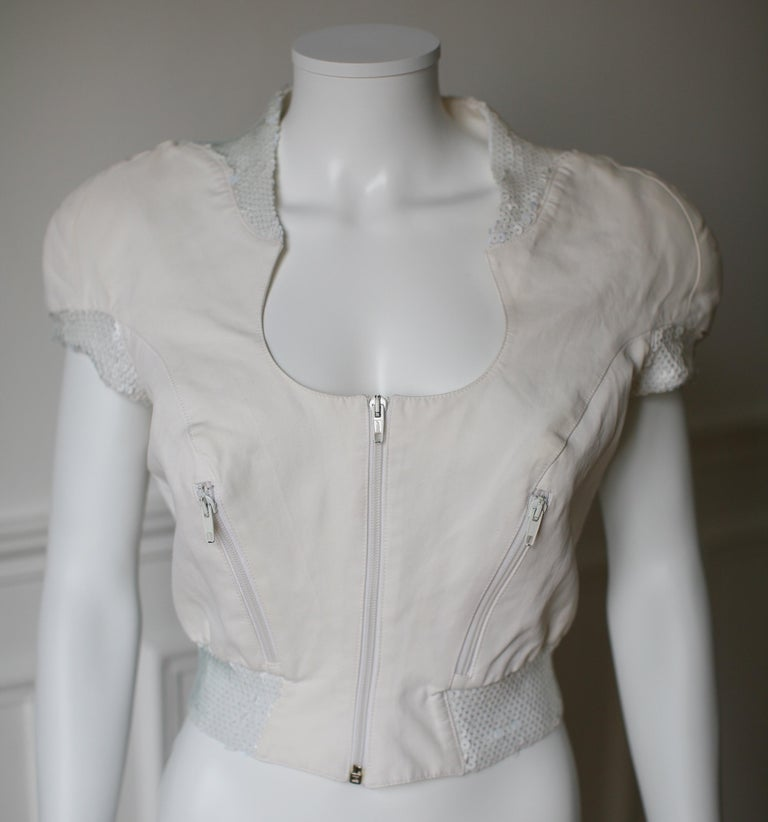 THIERRY MUGLER Activ, made in Italy, circa 90's.  Cotton top with white sequins and a rounded neckline.