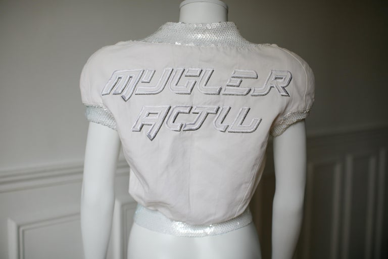 Gray 1990's Thierry Mugler Activ top Space Age Sequins Small For Sale
